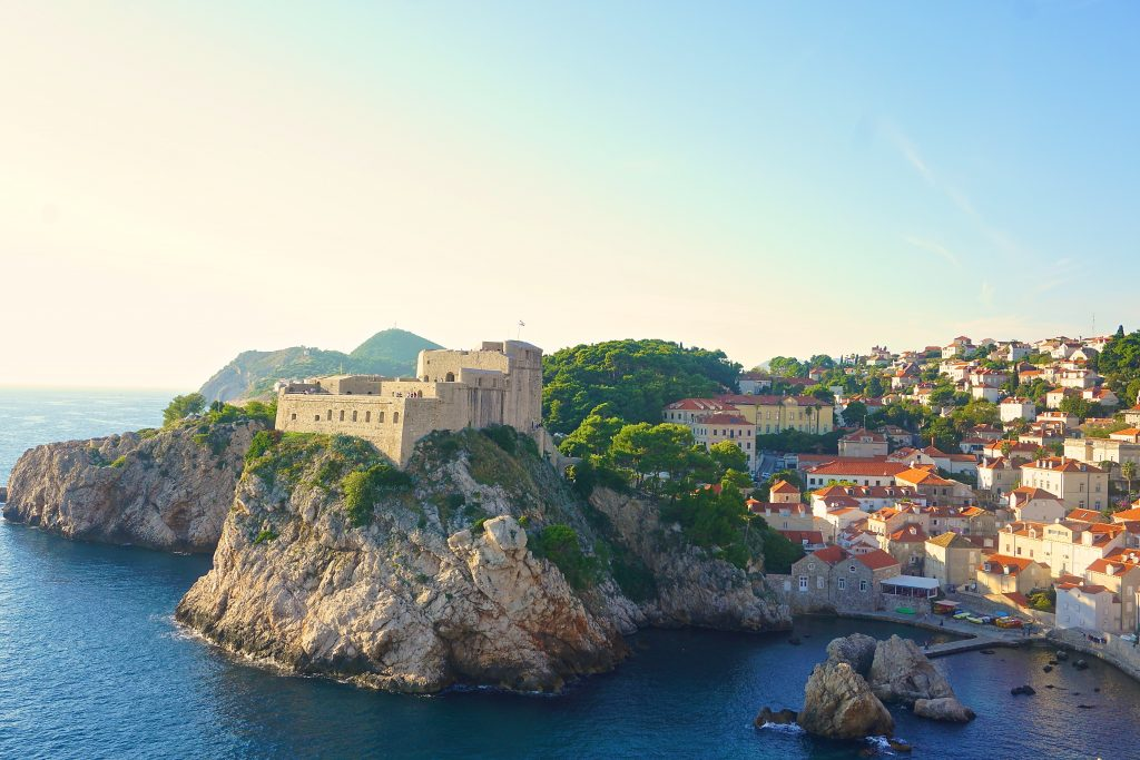 "Lovrijenac stone fortress overlooking the Adriatic in Dubrovnik, Croatia. Fortress is also known as ""King's Landing"" from Game of Thrones."