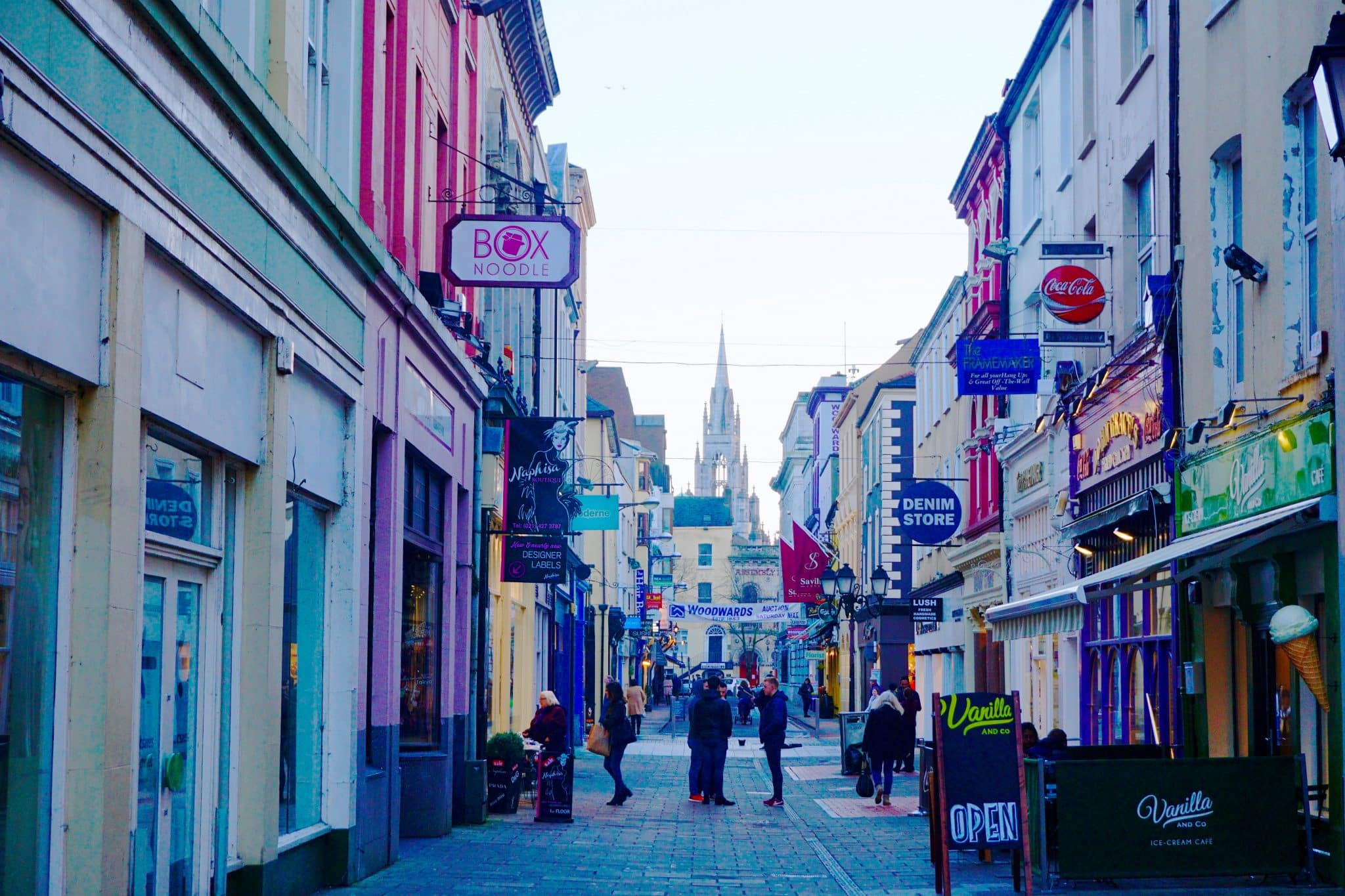 Colorful city center of Cork City, Ireland, where I spent one year on a working Holiday Visa in Ireland.
