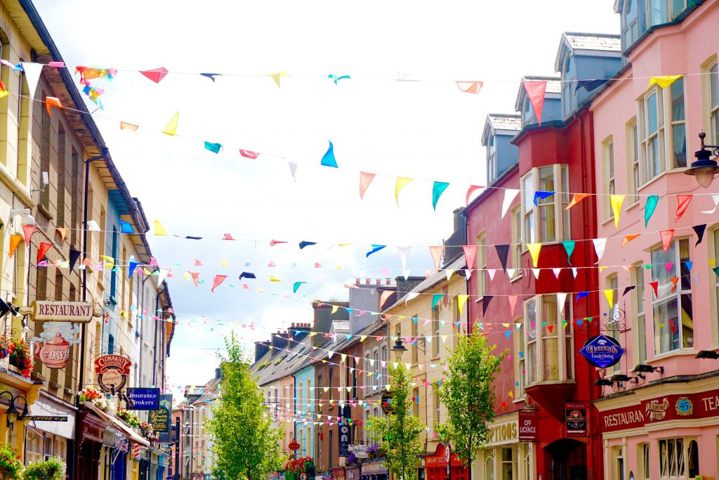 Colorful Houses and Streets in Clonakilty Ireland, along the Wild Atlantic Way.