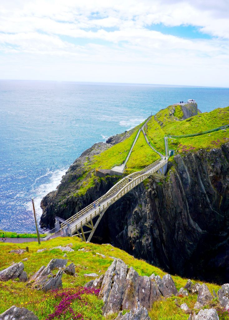 Walking bridge over cliffs surrounded by green grass and purple flowers at Mizen Head in West Cork, Ireland. A perfect stop along the Wild Atlantic Way.