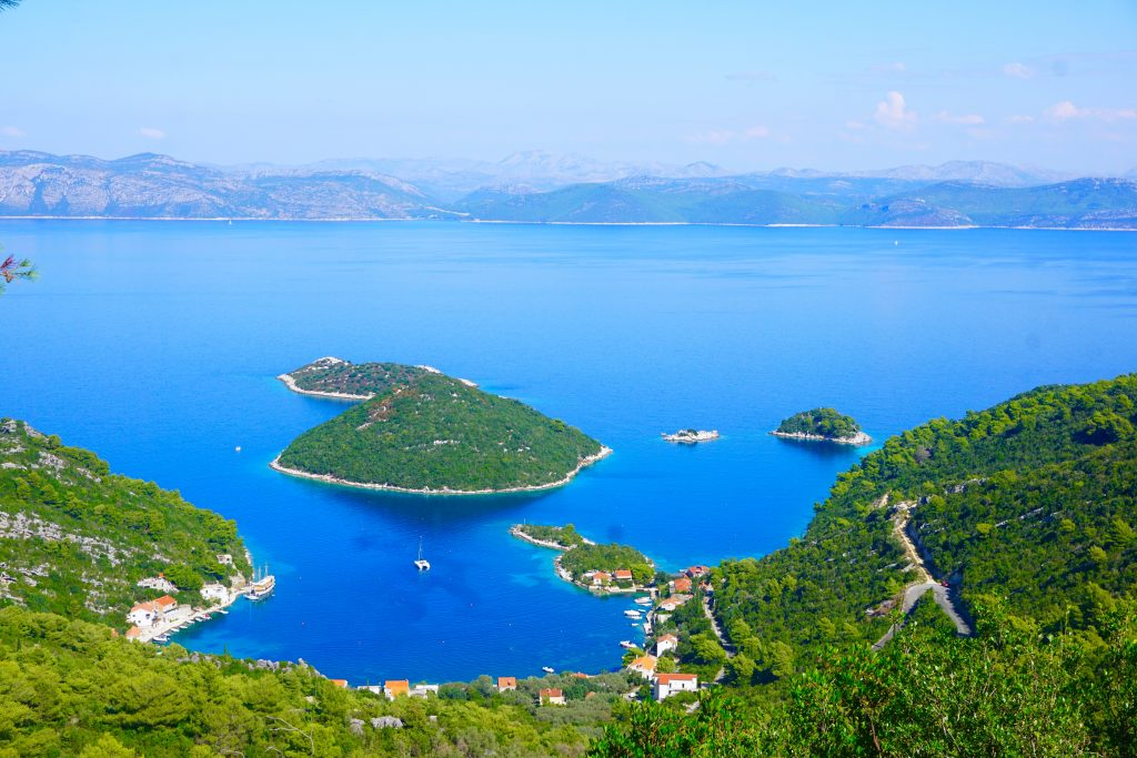 View of heart-shaped island off of the coast of the island of Mljet in Croatia. Mljet is one of the best islands in Croatia for untouched nature.