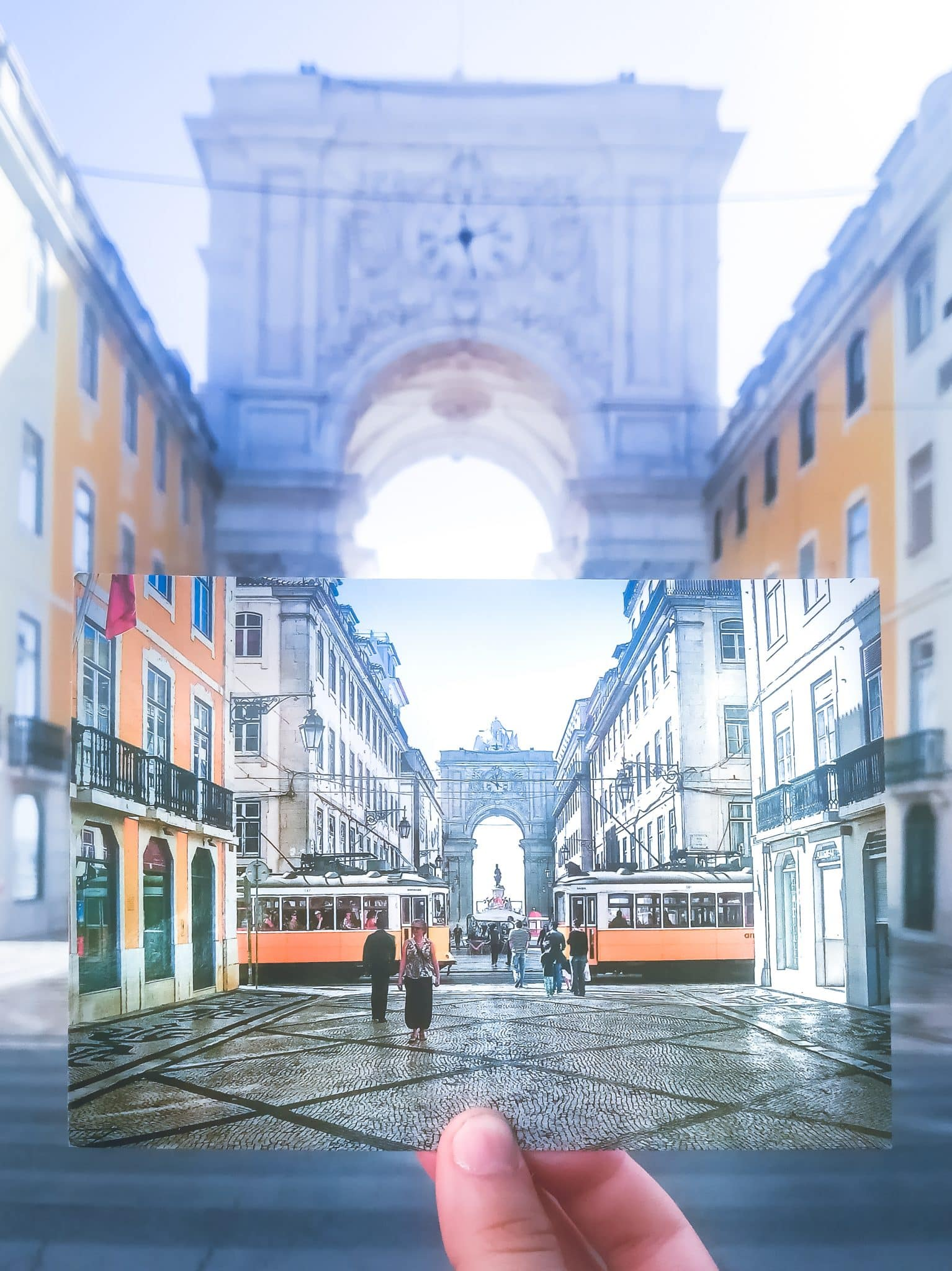 Augusta Rue Arch in the city center of Lisbon, Portugal. Watching the sun rise here is one of the best things to do in Lisbon, Portugal