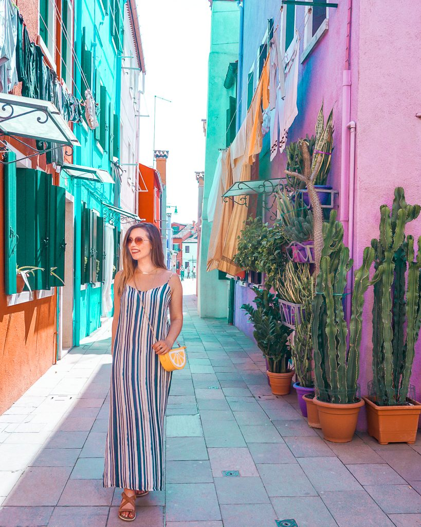 Colorful neon houses with tall succulent plants in Burano, Italy.