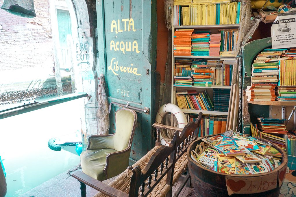Interior of the Alta Acqua Libreria bookshop.