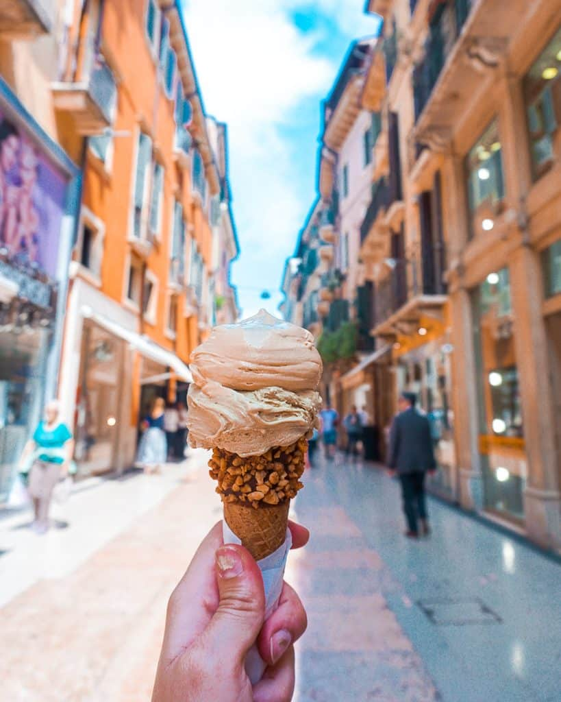 Grom gelato, zero waste and gluten free ice cream and cone in Verona, Italy.
