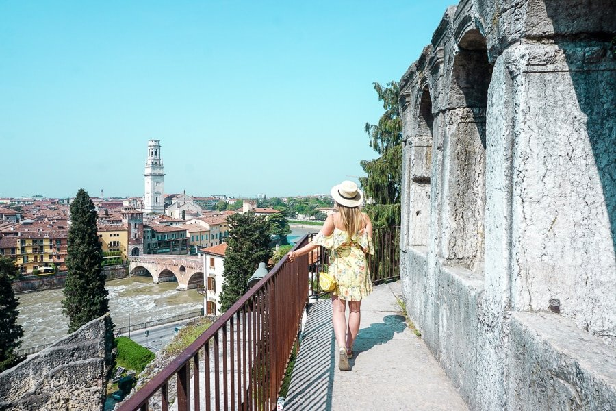 Woman overlooking Verona from the Roman Theatre.