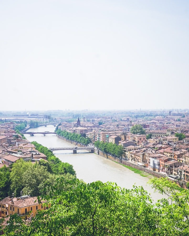 River, park, and city view of Verona from the Verona Castle.