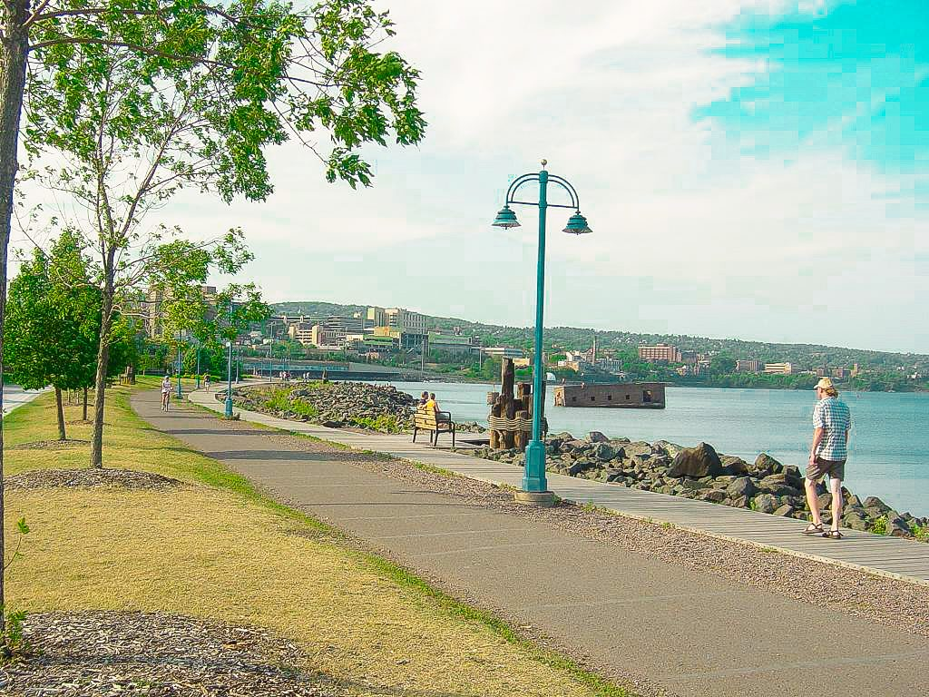 Canal Park Lakewalk in Duluth, Minnesota. It is a great place for riding bikes, walking or rollerblading.