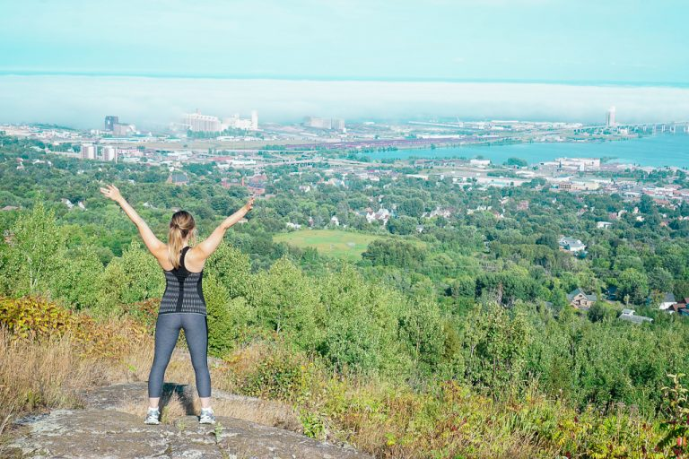 Looking out over Duluth, Minnesota on the Superior Hiking Trail at the N 24th Ave West section.
