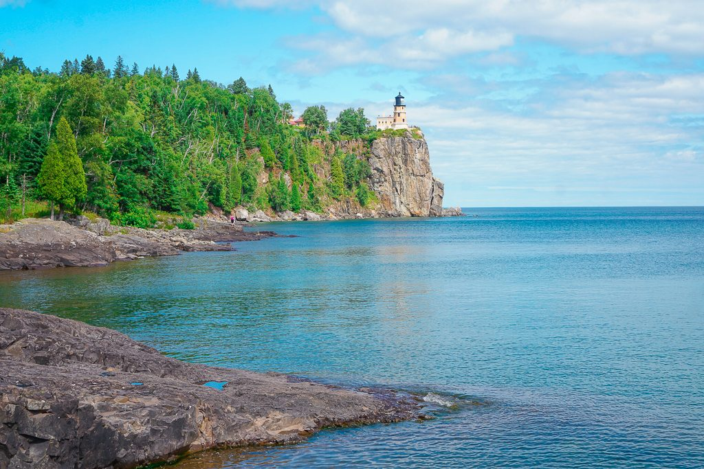 View of Split Rock LIghthouse from Pebble Beach. One of the best day trips from Duluth, Minnesota