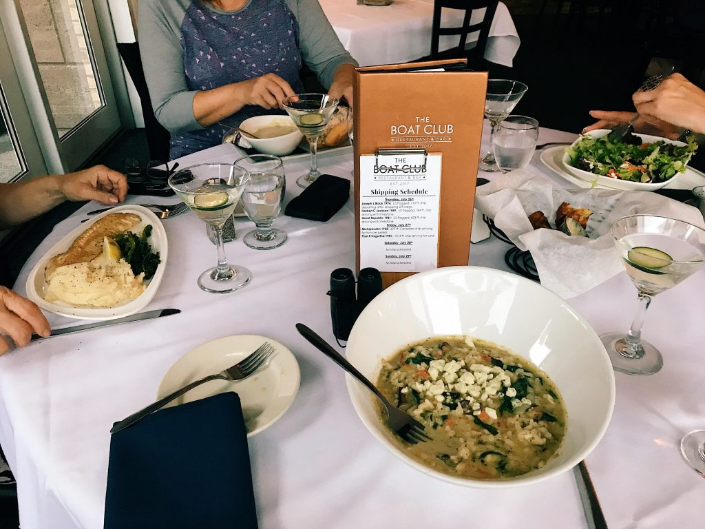 mushroom risotto at the Boat House in Duluth, MN. It is a popular location to watch big boats come in on Lake Superior.