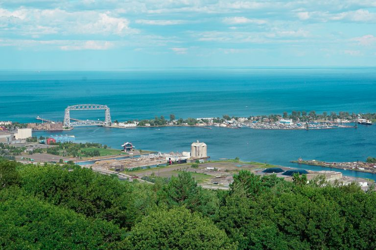 View from the top of Enger Tower, overlooking Canal Park and the Park Point Lift Bridge, in Duluth, Minnesota.