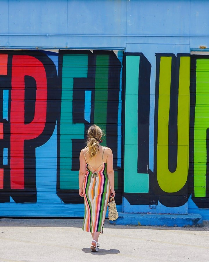 Colorful Deep Ellum mural at 208 S. Malcom X Blvd.