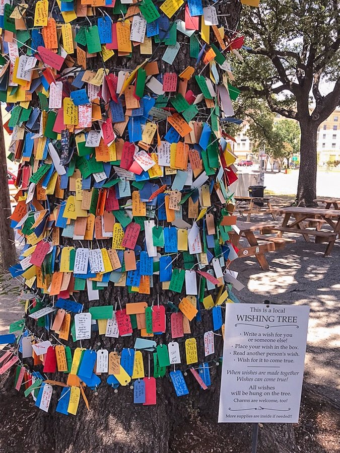 "Oak tree decorated with colorful ""wishes"" in Bishops Arts District in Dallas. Visitors can write a wish for themselves or others on a small piece of paper."