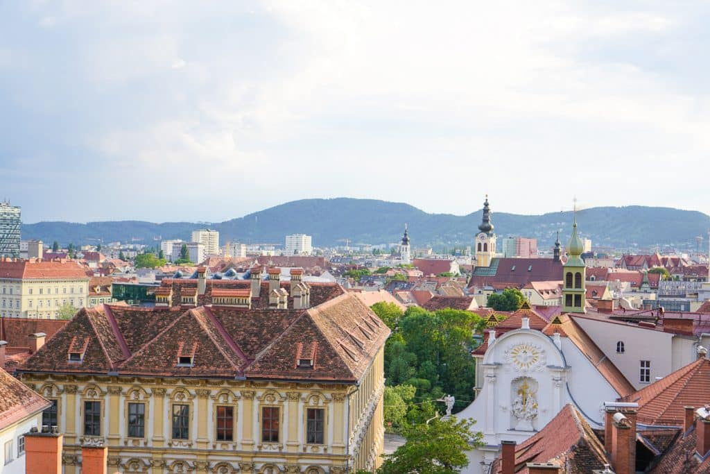 Skyline of Graz's city center, featuring Austrian architecture and Catholic Churches.
