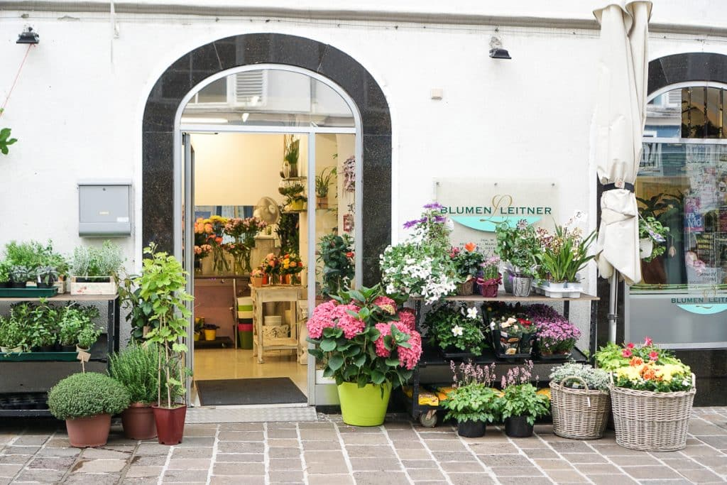 Flower shop in downtown Graz, Austria. The town is an example of sustainable tourism for it's commitment to local businesses.
