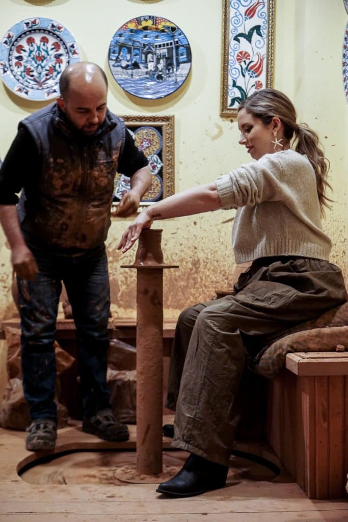 Avanos pottery lesson with foot wheel technique. This is a traditional art in Cappadocia, Turkey.