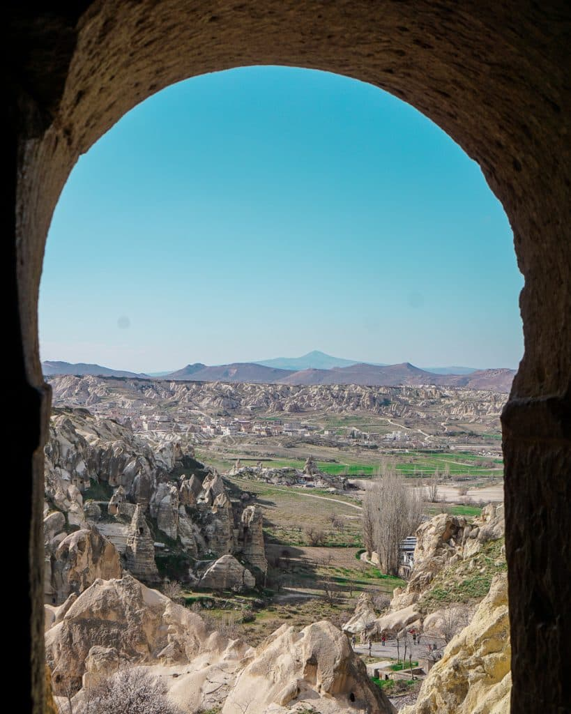 View from one of the Rock Cut Churches at the Open Air Museum in Cappadocia, overlooking the valley of fairy chimneys.
