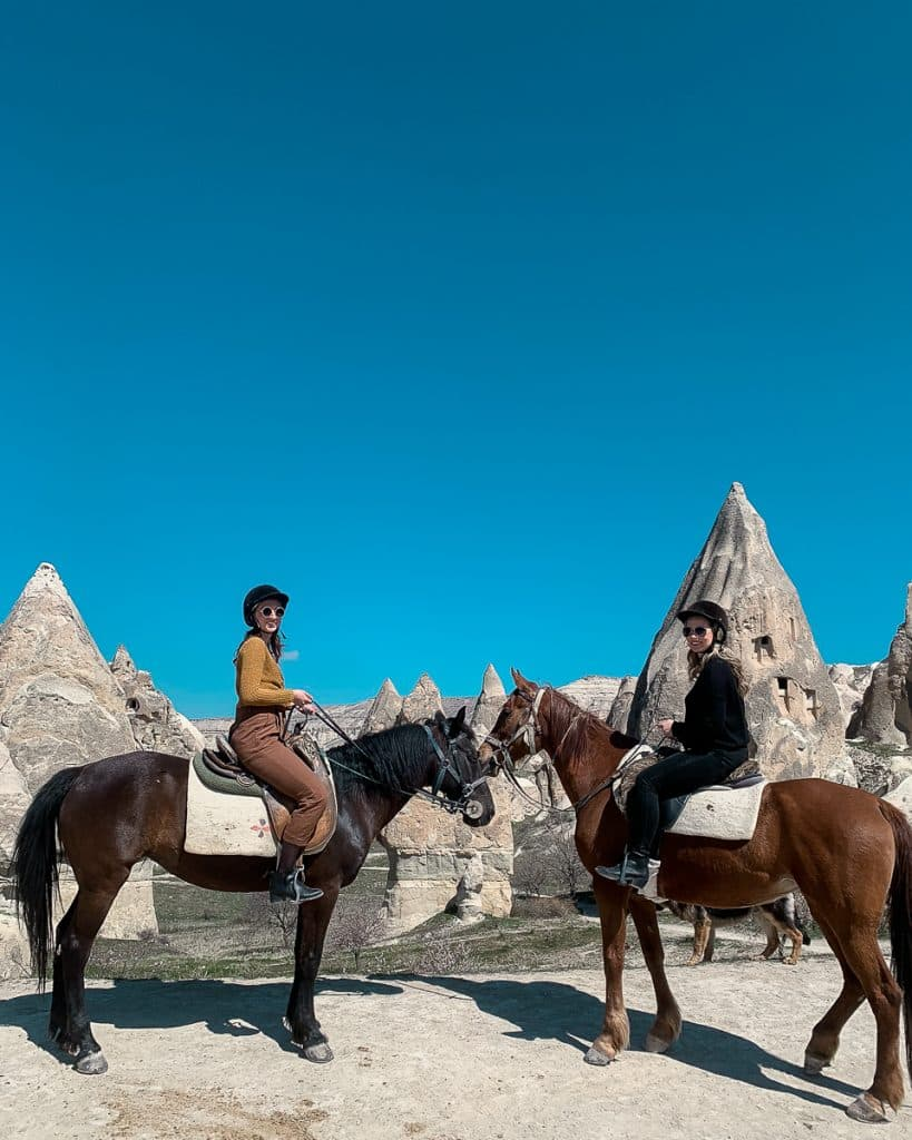 Horseback riding in Cappadocia tours, overlooking the Rose Valley