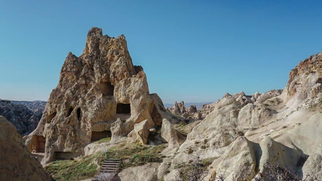 View of the open air museum and rock-cut church during one of the cappadocia red tours.