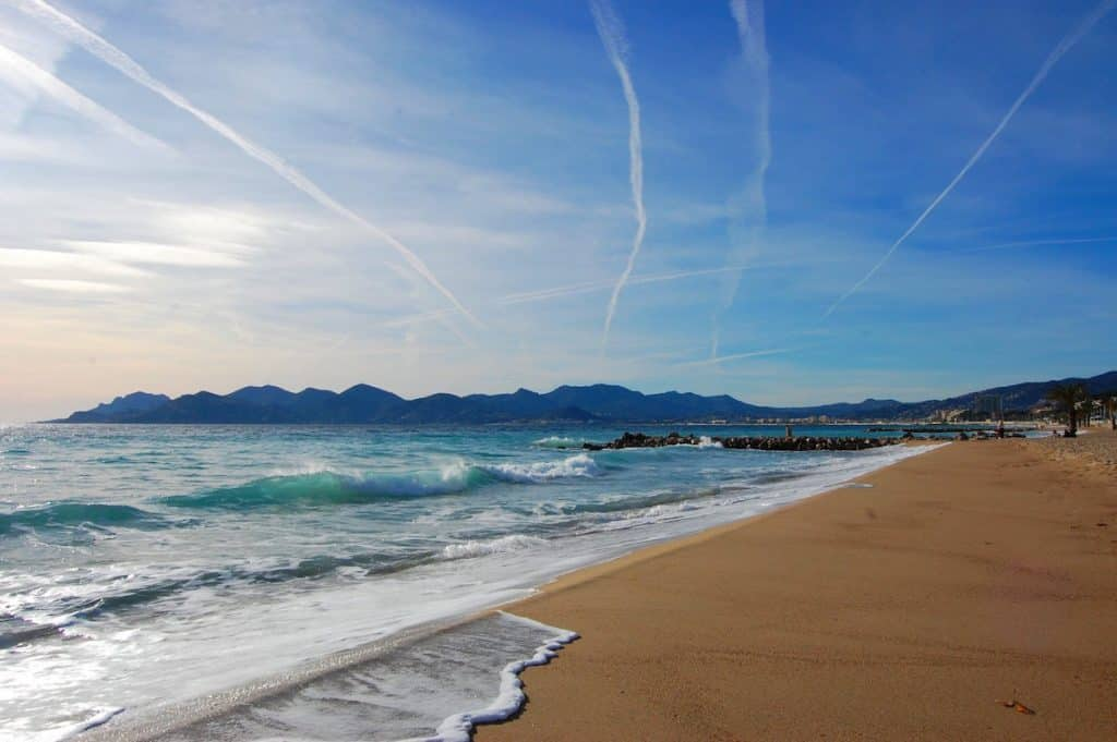 Sandy beach along the shores of Cannes, France.