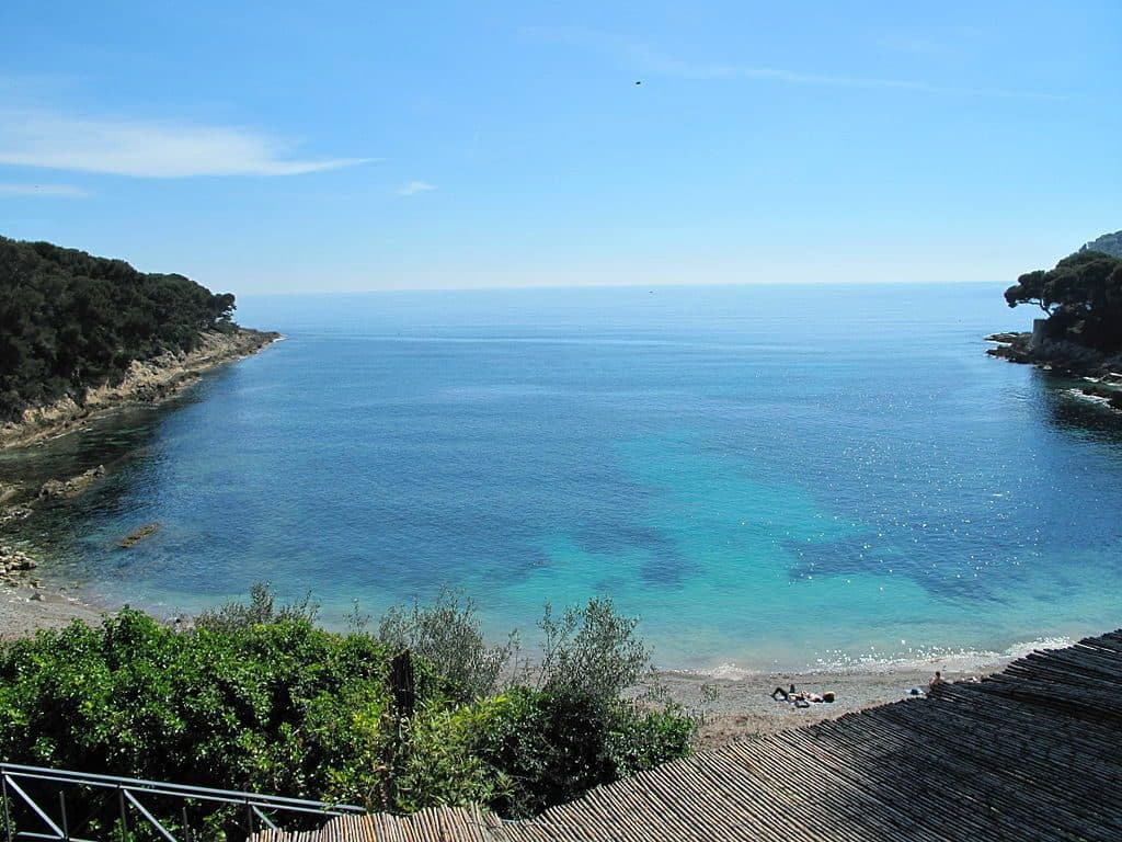 The quiet peninsula of St.Jean Cap Ferrat has many tranquil sandy beaches in the South of France.