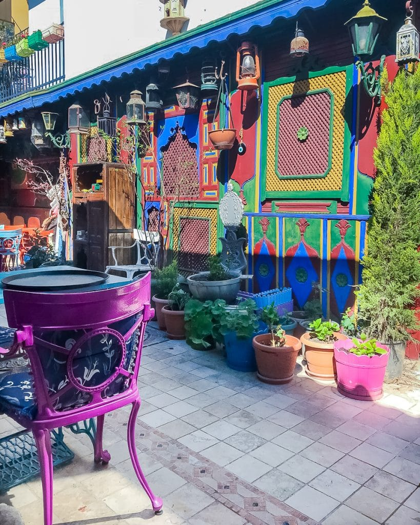 Colorful Ottoman Terrace at the Kybele Hotel and Restaurant, a popular lunch spot and cafe in Istanbul.