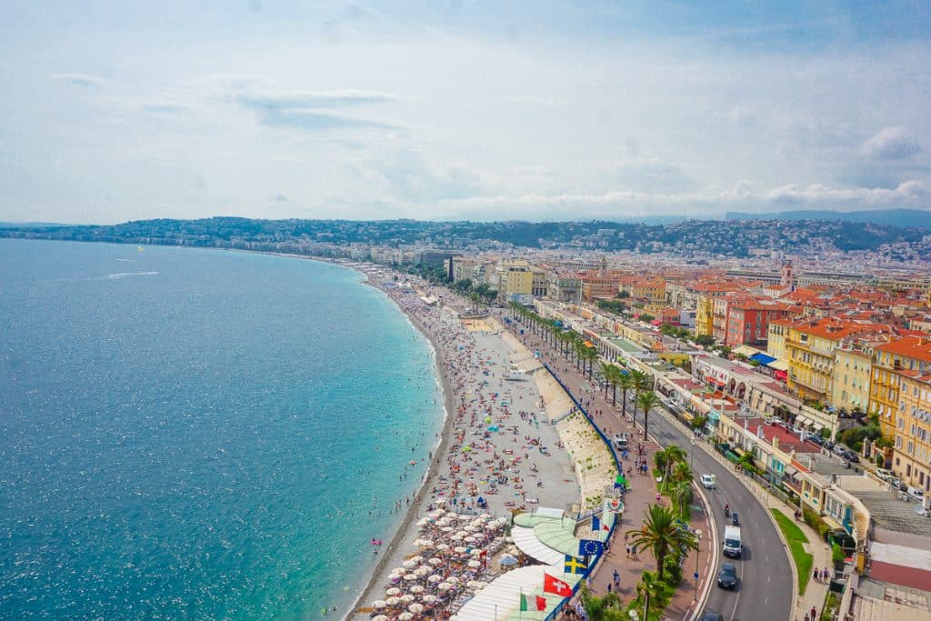 Nice, France beach near the promenade d'anglais, one of the best beaches in the South of France.