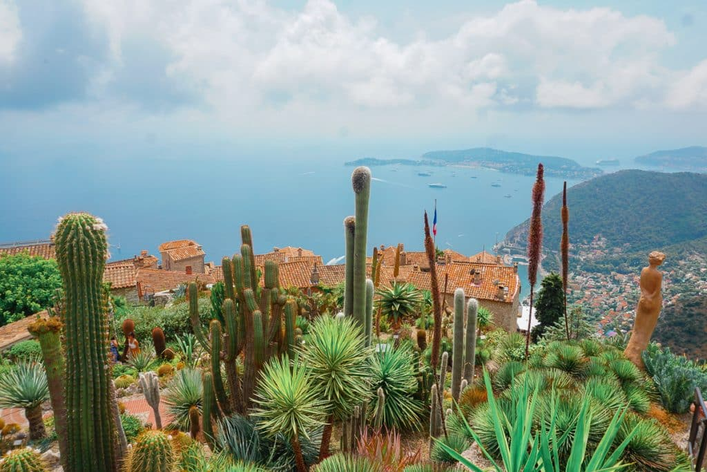 Nice to Eze: Botanical garden of succulents overlooking the sea and town of Eze. This is one of the popular day trips from Nice.