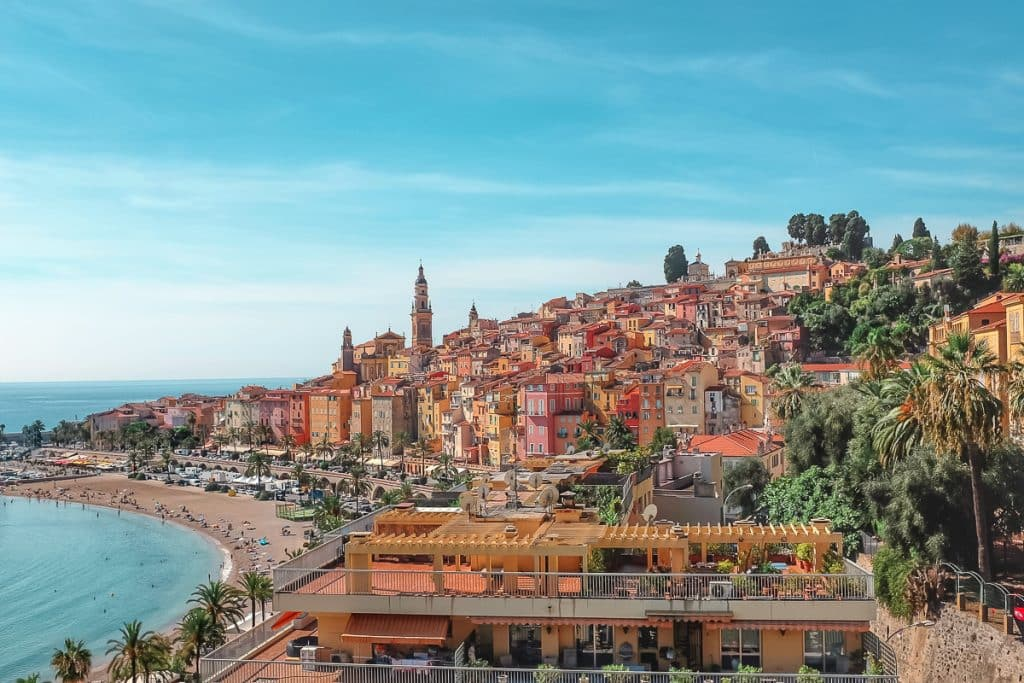 Nice to Menton: day trips from Nice. Colorful, gothic style town along the shores of the Med. sea in Menton, France.