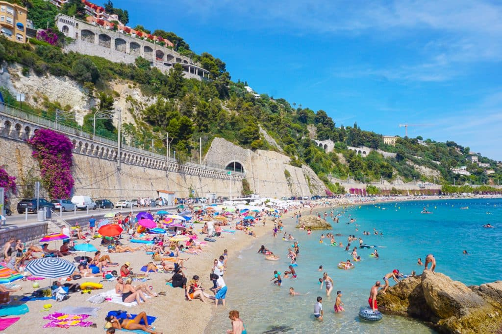 Ville Franche Sur Mer beach, a small coastal town outside Nice. This is one of the best beaches in the South of France.