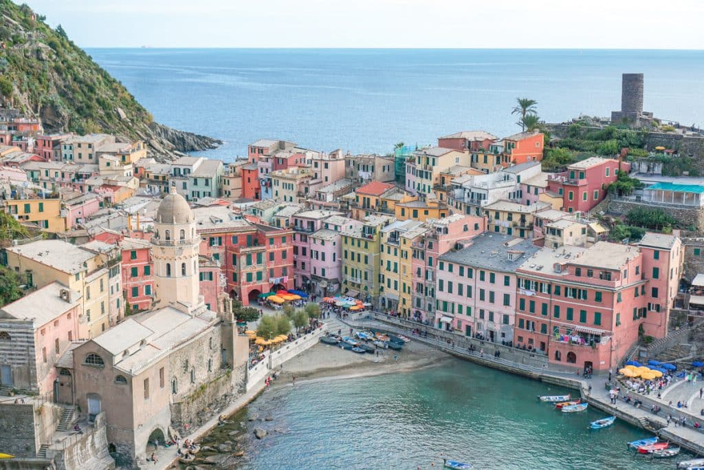 View of Vernazza, one of the towns connected by the Cinque Terre train