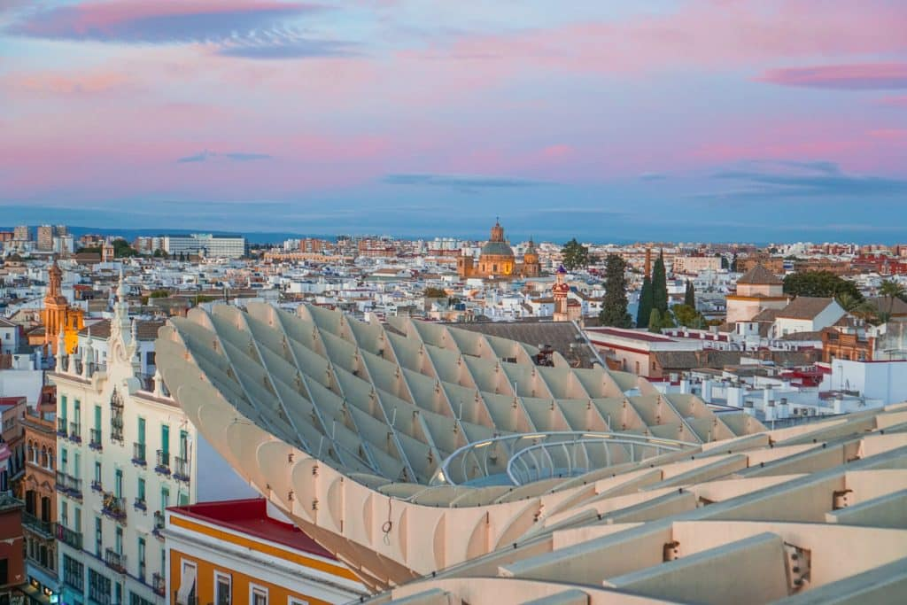 Las Setas de Seville or Metropol Parasol, a skyline walkway looking over the city. It is one of the top things to do in Seville.