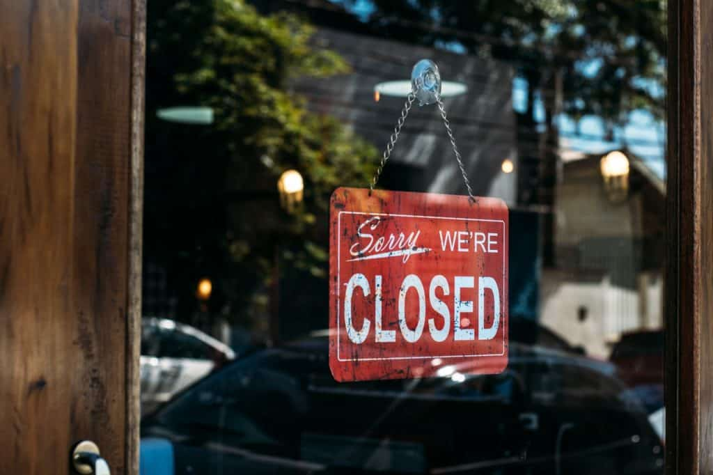 productivity obsession: sorry we're closed sign business door May 2020
