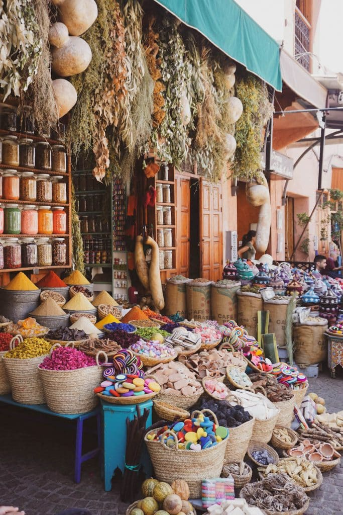 Marrakech souks in the Medina. Morocco 10 day itinerary.