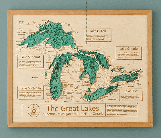 Wooden topography great lakes map wall art. Unique gifts for travelers.