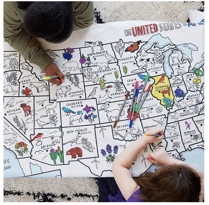 USA coloring table cloth.  unique gifts for travelers.