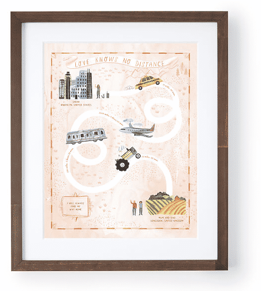 Custom long distance gift art print map. Unique gifts for travelers.