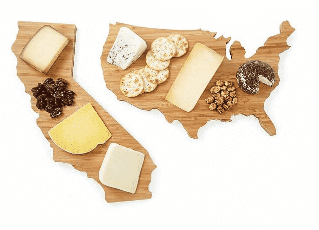 State shaped cheese board. unique gifts for travelers.