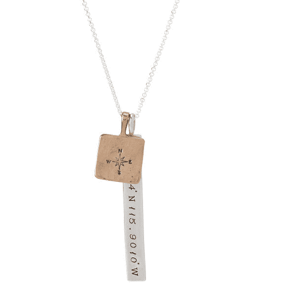 latitude and longitude coordinates necklace.  unique gifts for travelers