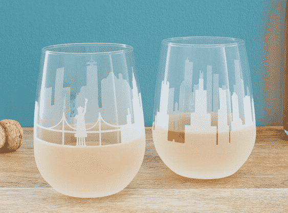 city skyline wine glasses.