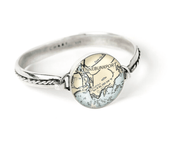 Custom map silver bracelet.  unique gifts for travelers.